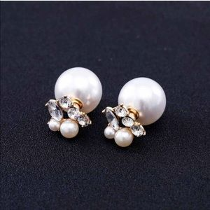 Jewelry - DOUBLE SIDE PEARL STUD EARRINGS CRYSTAL RHINESTONE